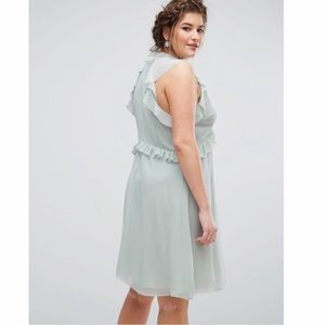 Truly You Dresses - Pastel Green Ruffle Sleeve Skater Dress